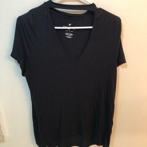 American Eagle Soft & Sexy Black Choker Shirt